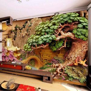 3D Ağaç Kabartma Görünümlü Duvar Kağıtları