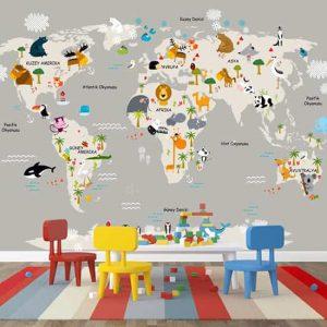 hayvanlar haritası posteri