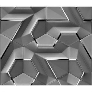3D Geometrik Şekilli Metal Görünümlü Duvar Kağıtları