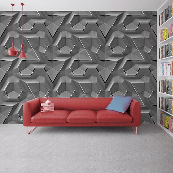 3D Geometrik Şekilli Görünümlü Duvar Kağıtları