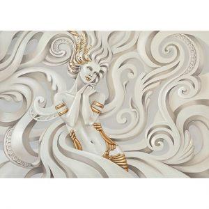 3D Sarı Tasarım Kadın Görünümlü Duvar Kağıtları