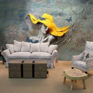 3D Sarı Şapkalı Kadın Ve Kelebekler Kabartma Görünümlü Duvar Kağıtları