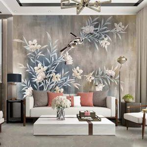 Dallı Ciçekli Duvar Kağıdı