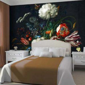 Siyah Arka Fon Çiçek Duvar Kağıtları