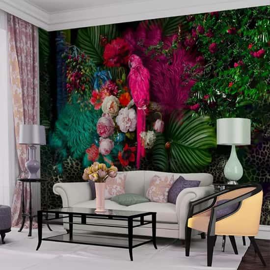 Papağan Çiçek Tasarım Duvar Kağıdı