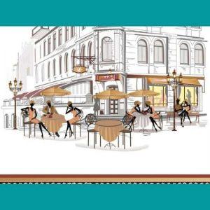 sokak çizgi kafe