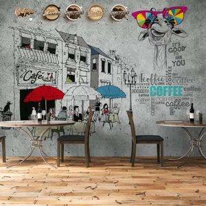 Cafe Sokak Poster Duvar Kağıdı