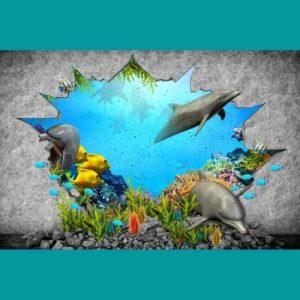 3D Yunuslar Duvar Kağıdı