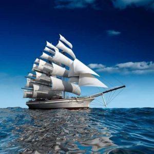 Yelkenleri Rüzgarla Dolu Gemi