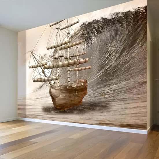 Dev Dalgalardaki Ahşap Gemi